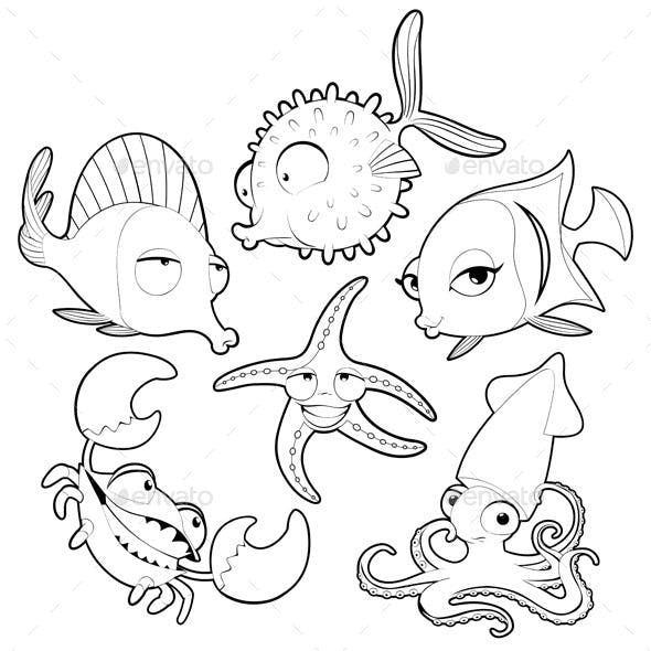 Sea Animals in Black and White