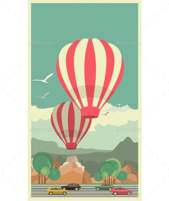 Hot Air Balloon in Sky - Travel Conceptual