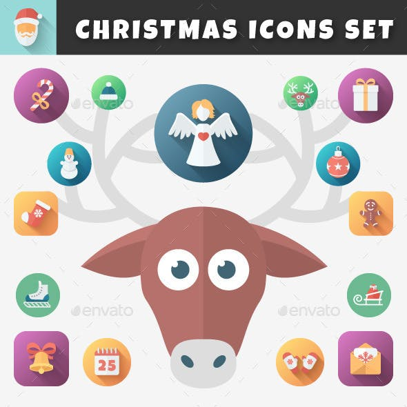 Christmas Flat Icons Set