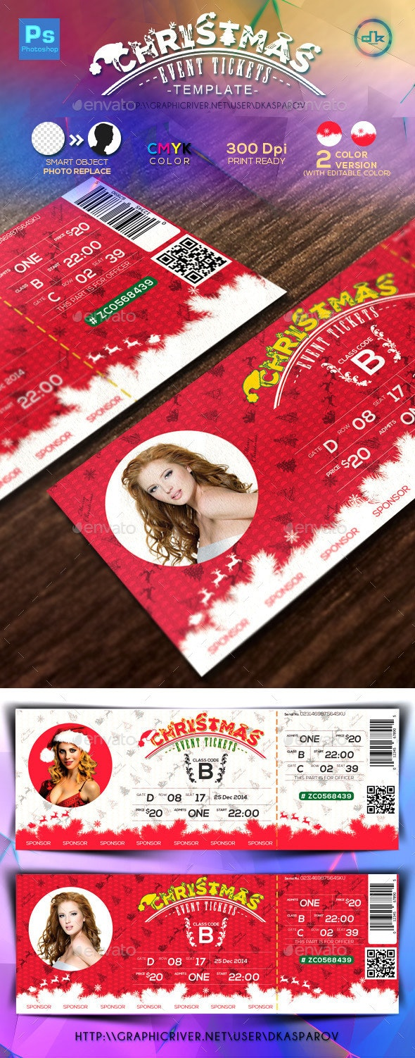 Christmas Event Tickets Print Ready - Miscellaneous Print Templates