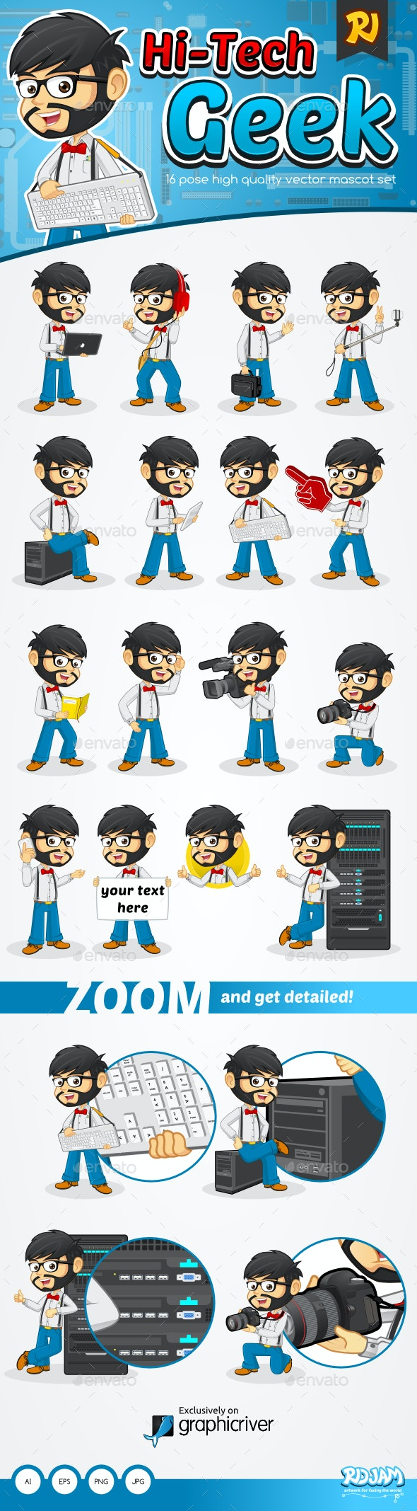 Hi-Tech Geek - Characters Vectors