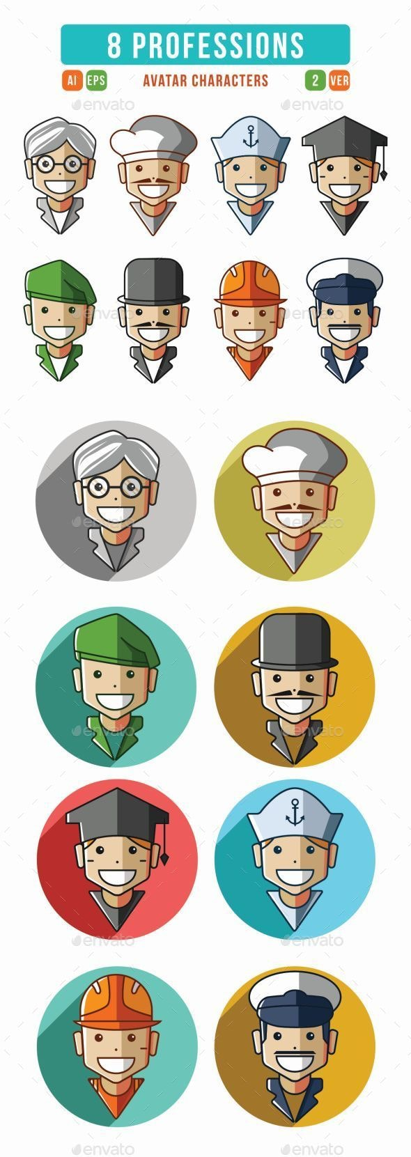 Profession Characters Icons Set
