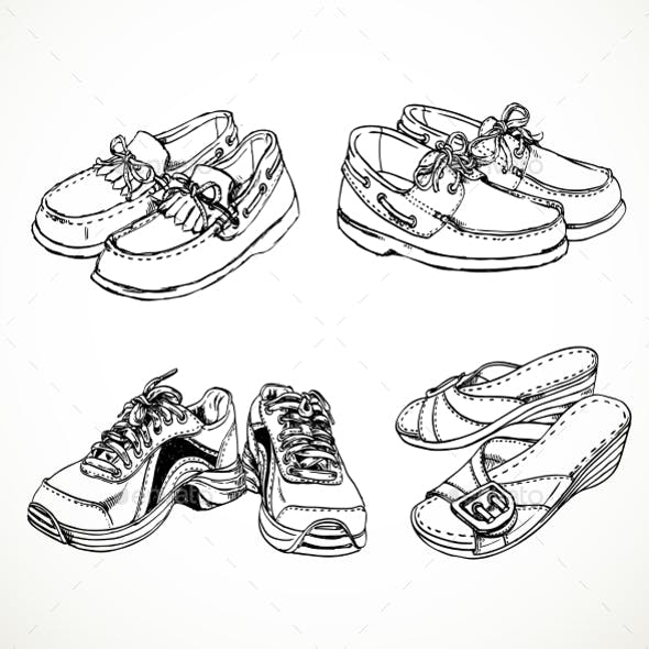 Sketch of Shoes for Men and Women