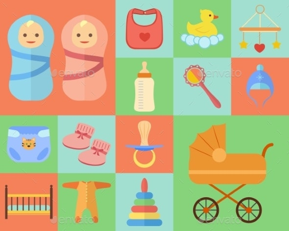 Baby Icons Set  - Man-made Objects Objects