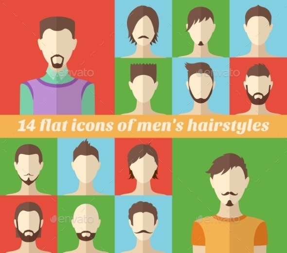 Set of Men's Hairstyles - People Characters