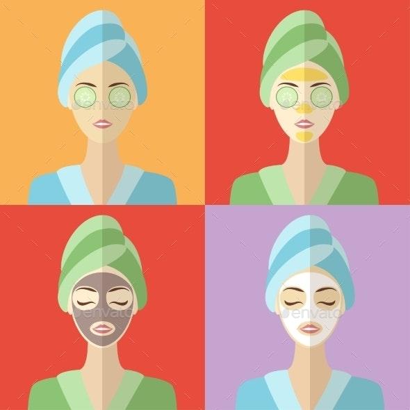 Beauty and Spa Procedures Flat Design - Health/Medicine Conceptual