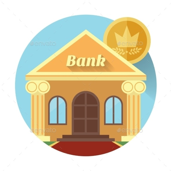Illustration of a Bank and Coin - Buildings Objects