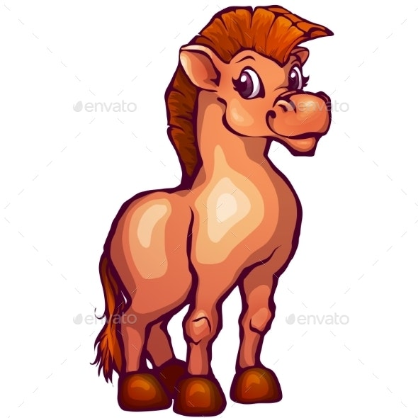 Illustration of Horse in Cartoon Style - Animals Characters
