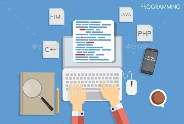 Programming Coding Flat Concept - Web Technology