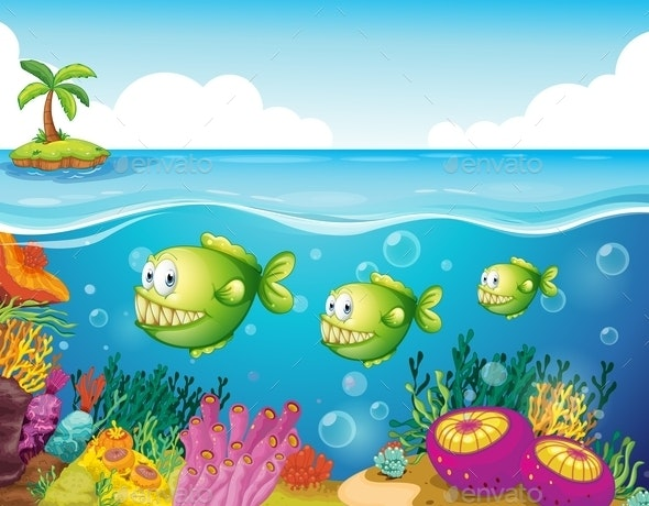 Three Green Piranhas Under the Sea - Animals Characters