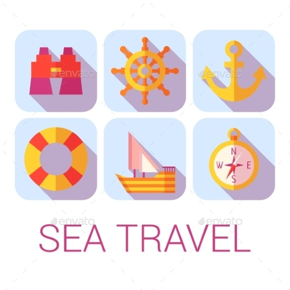 Sea Travel Icons in Flat Style - Travel Conceptual