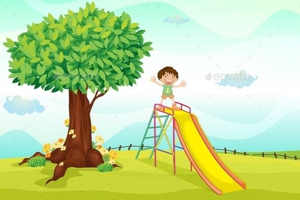 Boy on Slide - People Characters