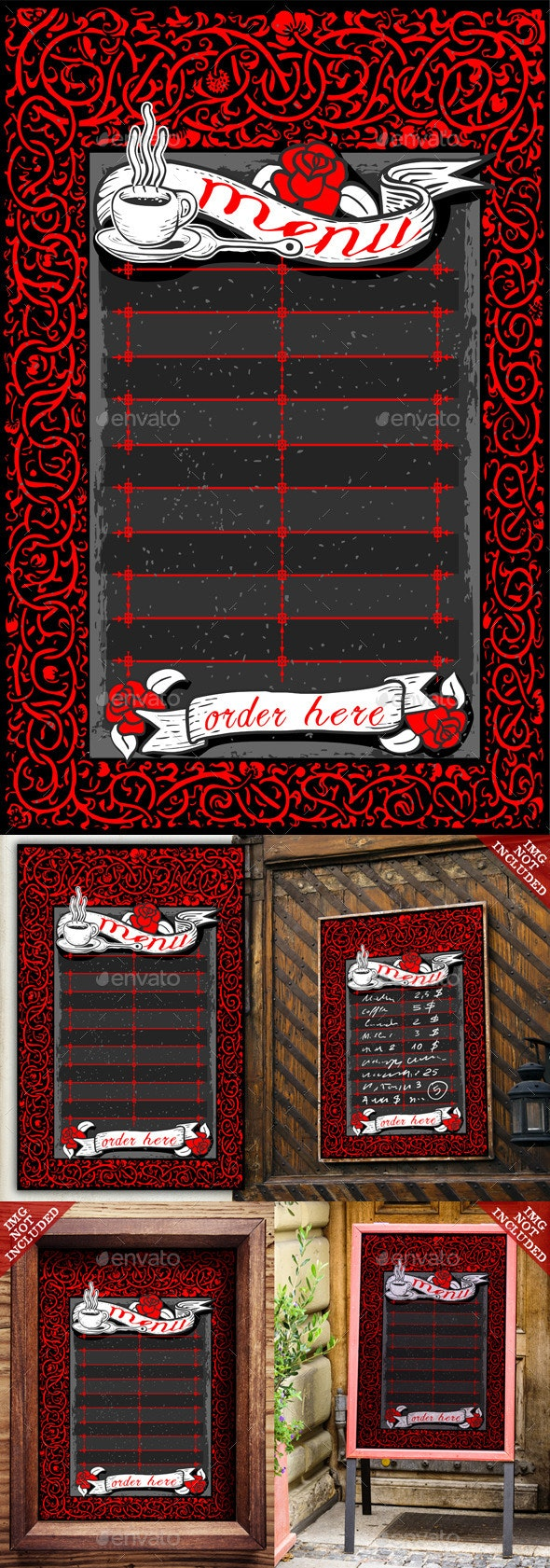 Vintage Dark Menu with Red Roses and Banners  - Food Objects