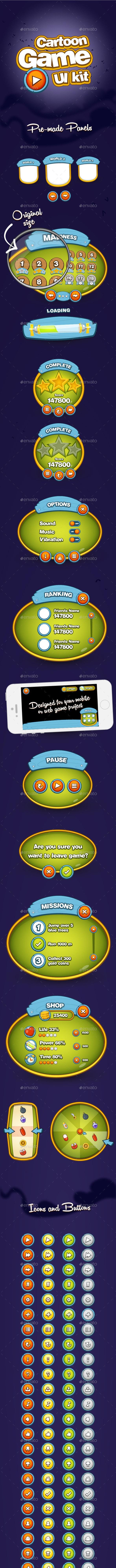 Cartoon Game UI Kit - User Interfaces Game Assets