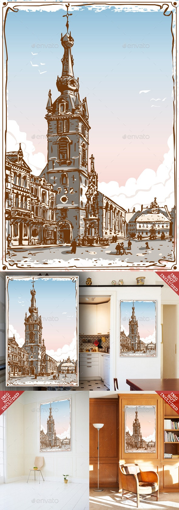 Vintage View of Chimay Church Place in Belgium - Buildings Objects