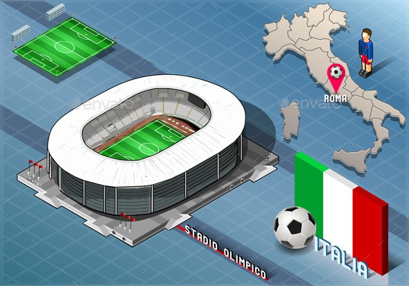 Isometric Stadium, Olimpico, Rome, Italy - Buildings Objects