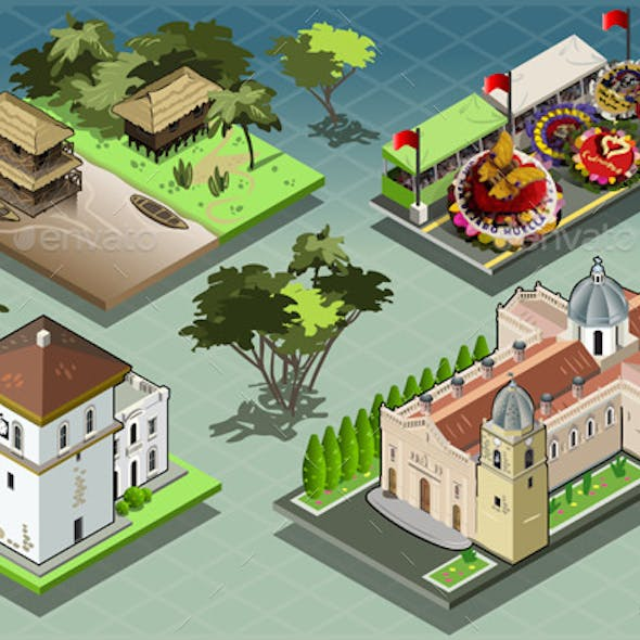 Isometric Tiles of South American Buildings