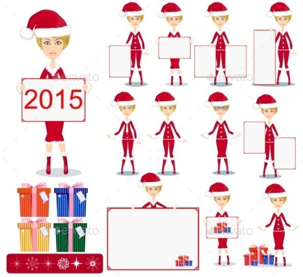 Santa Girl with Gifts - Christmas Seasons/Holidays