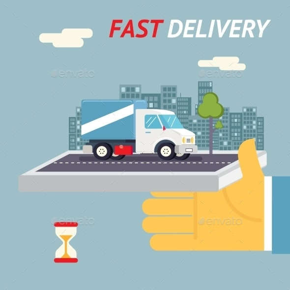 Fast Free Delivery Symbol Shipping Hourglass Timer - Miscellaneous Vectors