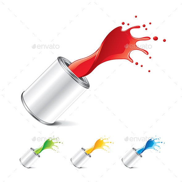 Paint Can with Splashes - Abstract Conceptual