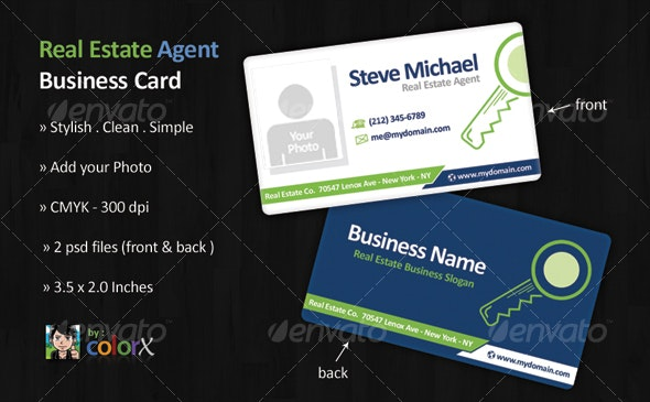 Real Estate Agent Business Card Template - Corporate Business Cards