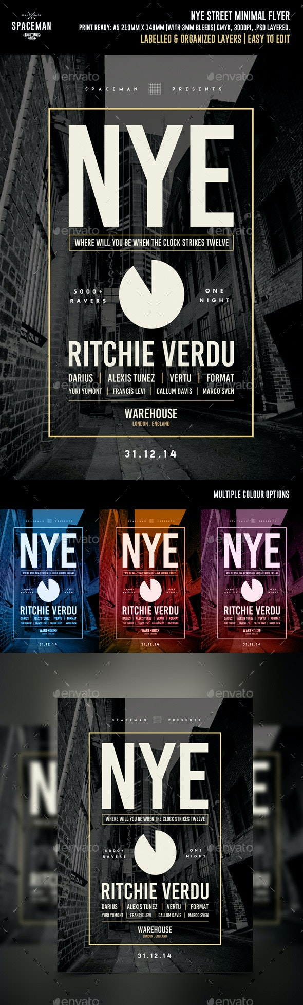 NYE Street Minimal Flyer - Clubs & Parties Events