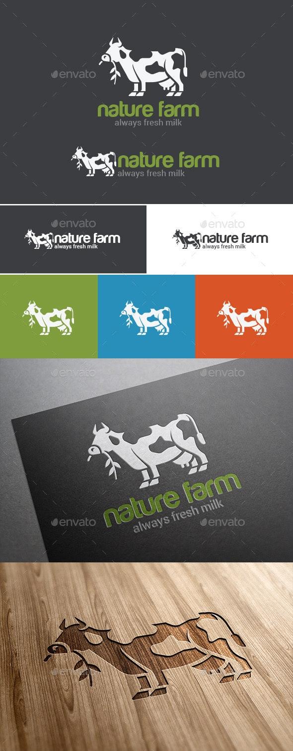 Logo Cow Milk Green Farm