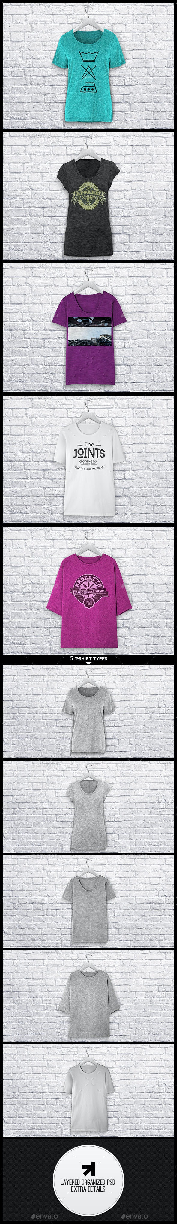Ladies T-Shirt Mockup - T-shirts Apparel