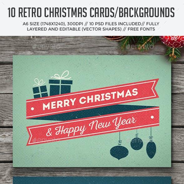 10 Retro Christmas Cards/Backgrounds