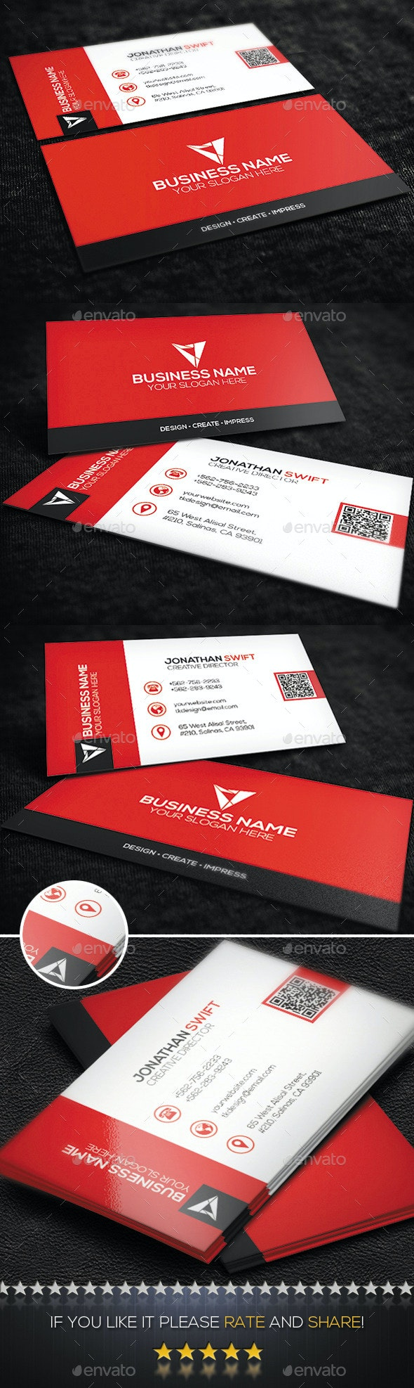 Red Corporate Business Card No.09 - Corporate Business Cards