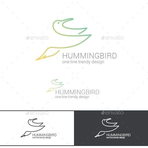 Logo Hummingbird Line Art Abstract