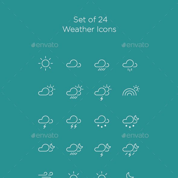 24 Vector Weather Icons