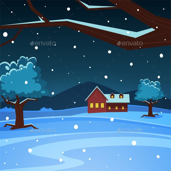 Night Winter Landscape - Seasons Nature