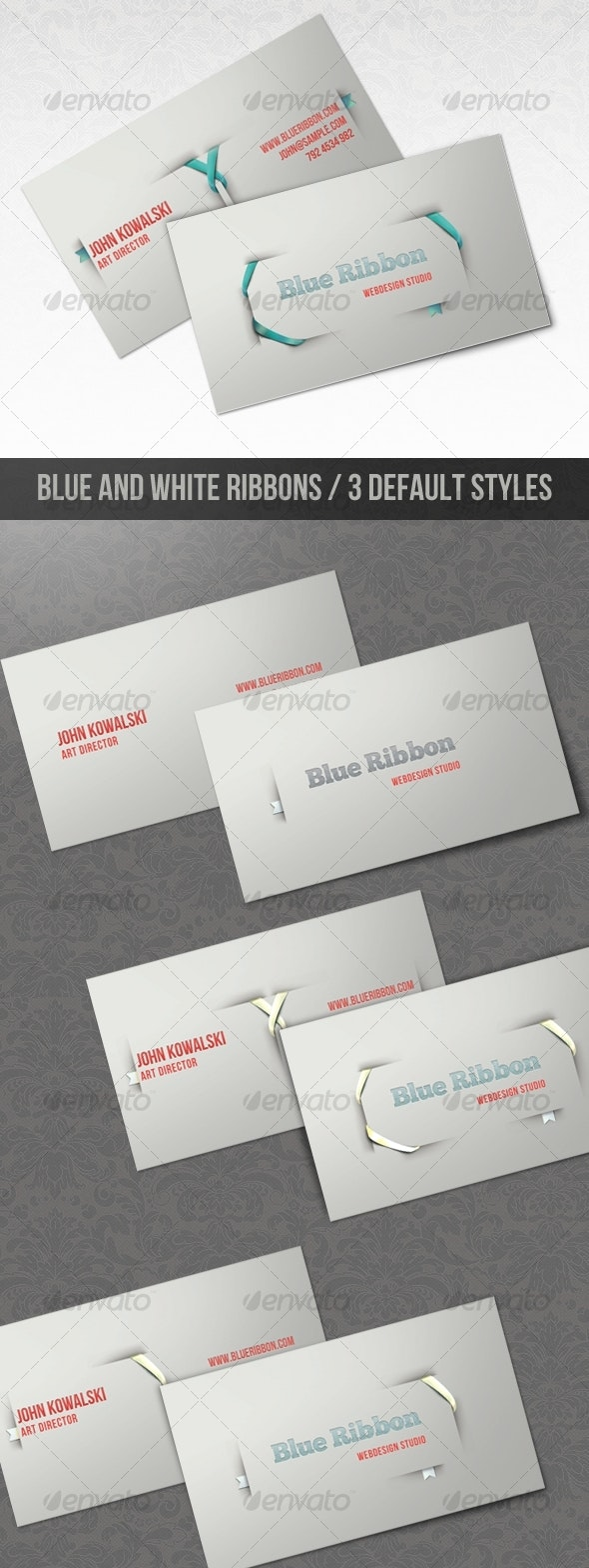 Blue Ribbon - Clean and Modern Business Card - Creative Business Cards