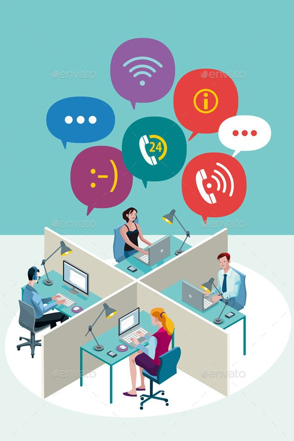 Office Workers with Speech Bubbles - Concepts Business