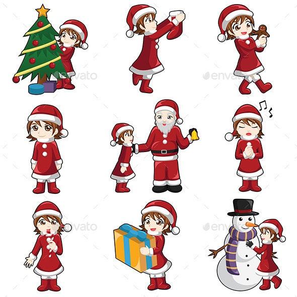 Girl with Christmas Stuff - Christmas Seasons/Holidays