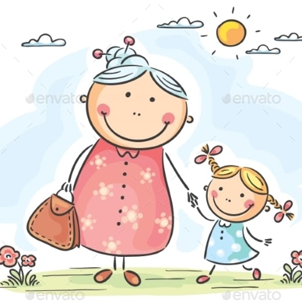 Girl and her Granny on a Walk