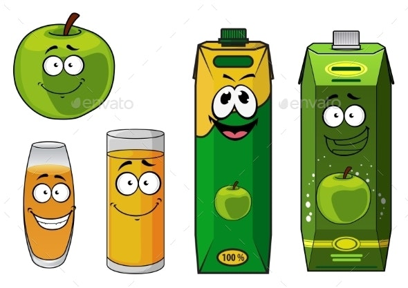Apple Juice Cartoon - Food Objects