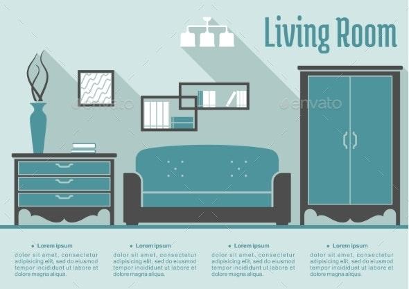 Retro Flat Living Room Interior - Miscellaneous Vectors