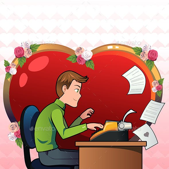 Man in Love Writing a Letter