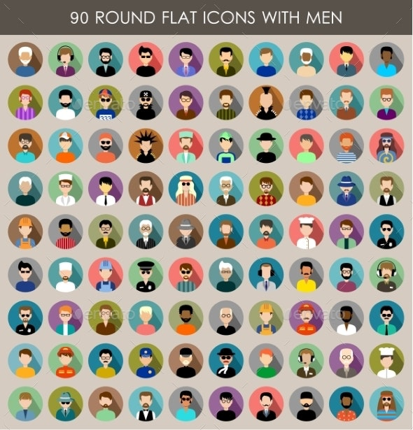 Set of Round Flat Icons with Men.  - People Characters