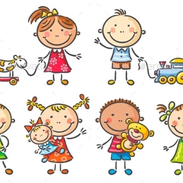 Kids holding their Toys