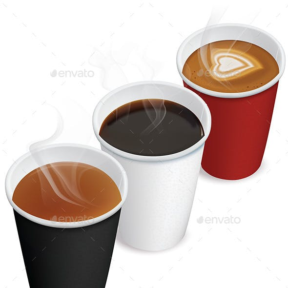 Tea, Cappuccino, Coffee in Paper Cups