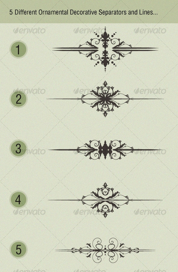 Ornamental Decorative Separators and Lines - Decorative Vectors