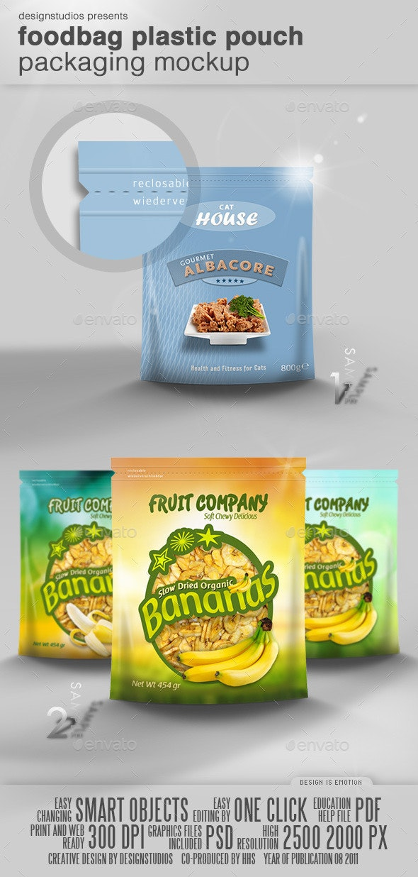 Foodbag Plastic Pouch Packaging Mock-Up - Food and Drink Packaging