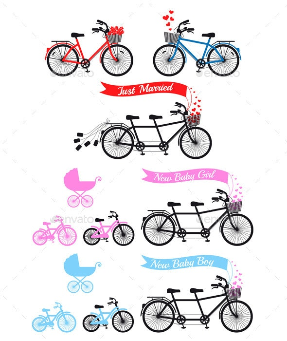 Baby Shower With Tandem Bicycle - Sports/Activity Conceptual