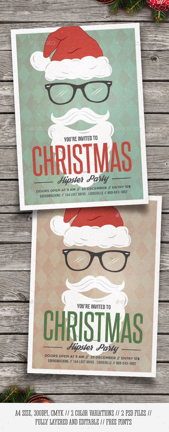 Hipster Santa - Christmas Party Flyer - Holidays Events