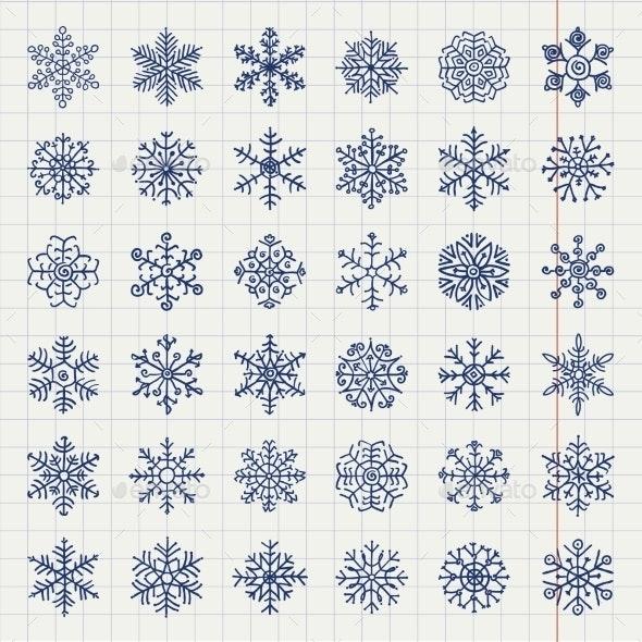 Winter Snow Flakes Doodles - Seasons/Holidays Conceptual