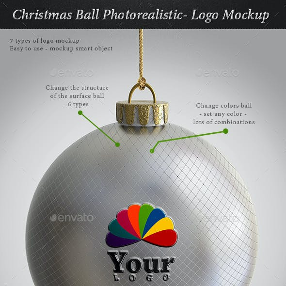 Christmas Ball Photorealistic- Logo Mockup