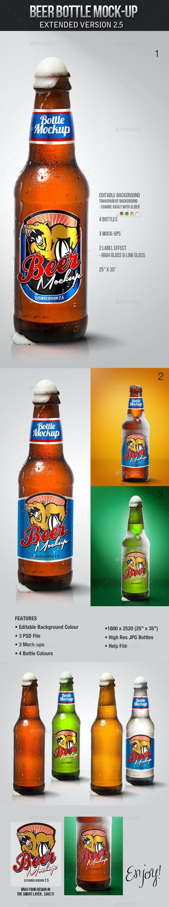Beer Bottle Mockup V2.5 - Product Mock-Ups Graphics